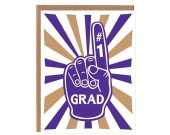 Grad Foam Finger -- Purple and Gold Husky Colors