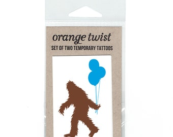 Sasquatch and Balloons Temporary Tattoos -- Set of Two