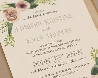 Watercolor Greenery Wedding Invitation, Rustic Wedding, Outdoor Invitation, Floral Invitation, Spring Invitation, Summer Invitation DEPOSIT