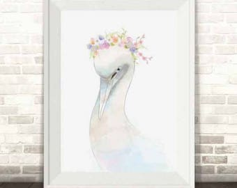 Swan Print, Swan Watercolour Print, Swan Girls Nursery Print, Swall Wall Art, Swan Art Print, Swan Princess Illustration Print