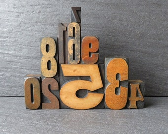 Vintage Letterpress Number Set - The One With The Buxom 5