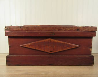Hand crafted vintage wood tool box with painted interior trim and hinged lid- solid, weighty, just the right amount of wear