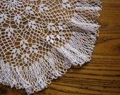 """Antique Crochet Doily, White Doily, 17"""", Large Doily, Vintage Lace, Crochet Doily, Large White Doily, Retro Decor, Vintage Decor, Rustic"""
