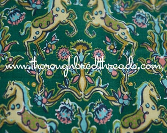 Vintage Horse Print- Vintage Fabric 60s New Old Stock Ponies Carousel