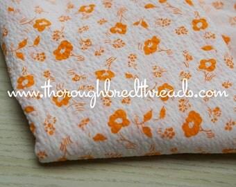 Orange Daisies- Vintage Fabric New Old Stock Seersucker Plisse Adorable Doll Making 38 in wide