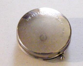 Vintage Richard Hudnut Silver Metal Slide Button Face Powder Dispencer Compact New York Paris