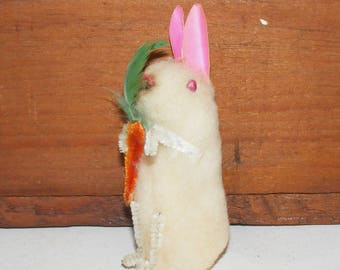 Vintage Cotton Batting Bunny Rabbit with Chenille Carrot Japan