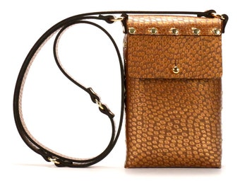 Copper Ostrich Mobile Bag | Copper Cell Phone Bag | Vegan, Made in USA