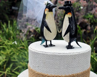 New! Charming Penguin Wedding Cake Topper: Handpainted Tin Bride & Groom Penguin Cake Topper
