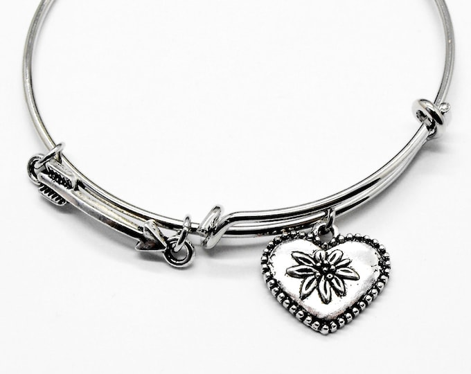 Arrow Heart Love Bangle Romance Jewelry Adjustable Stackable Romantic Bracelet