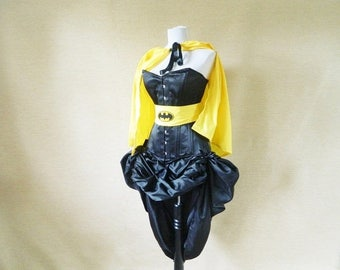 CUSTOM SALE Batman/Batgirl Superhero Halloween Corset Outfit Costume-Whole Corset Outfit-Made To Your Size