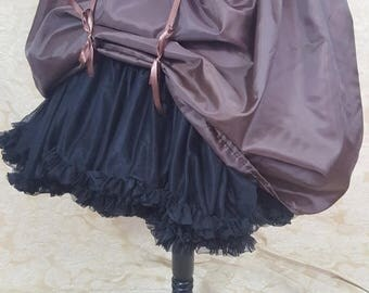 "SALE Dark Brown Knee Length Bustle Skirt-One Size Fits Up To A 52"" Waist"
