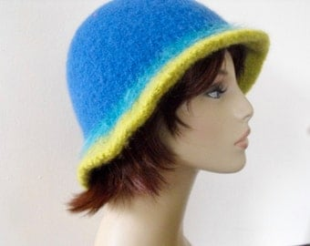 Woman's Warm Wool Felted Hat Hand Knit Blue
