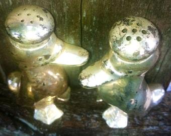 30's metal ducks salt & pepper shakers  vintage chippy metallic duck 1930's kitchen dining decor