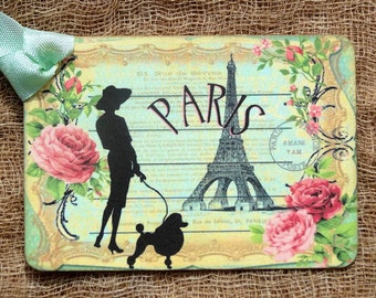 French Paris Eiffel Tower Lady Poodle Gift or Scrapbook Tags or Magnet #400