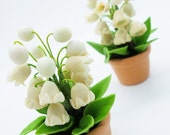 Lily of the Valley, Miniature Polymer Clay Flowers in Pot 1 piece