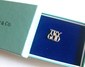 Tiffany & Company TRY GOD Lapel Pin Brooch Old Stock MIB Sterling Marked Free Shipping Vintage