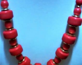OJN-129, True Red Acrylic Bead Necklace