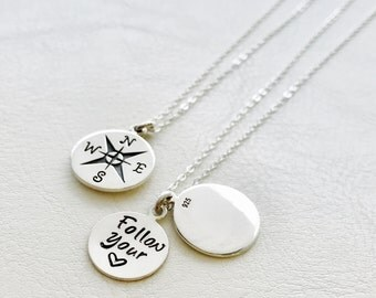 Personalized Compass charm necklace, Follow your heart, secret message necklace, graduation gift for her, clamshell locket, hand stamped
