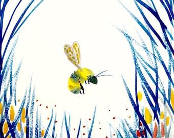"Bumblebee Watercolor Painting, Fall Original Art, 11""x15"""