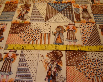 Holly Hobby Fabric, Vintage 1970's, American Greetings Corp By Manes Fabrics Co, Inc., 2 Yards, OOP