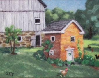 Needle Felted Wool Painting - Landscape- Springhouse - Wall Art - 11x14 Inch - Fiber Art - Gift - Farm Picture with Chickens