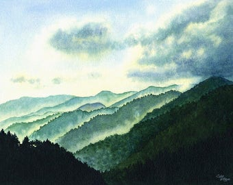 Smoky Moutains Art Watercolor Painting Print by Cathy Hillegas, 12x16 print, watercolor landscape, misty mountains art, teal green