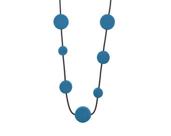 long blue necklace, resin bead jewellery, gifts under 40