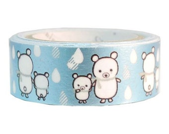 210806 blue metallic bear raindrop Washi Masking Tape deco tape
