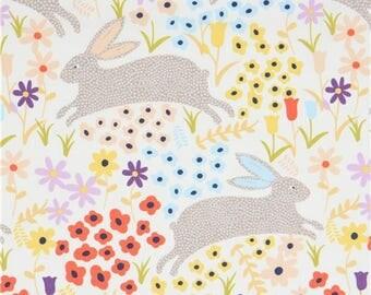 214312 cream Alexander Henry fabric grey taupe rabbit colorful flower Bunny Run