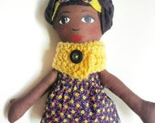 Cloth Doll African American Rag Doll -Ready To Ship Fabric Doll  Soft Doll Christmas Doll Gifts Under 75 Ethnic Doll Black Doll