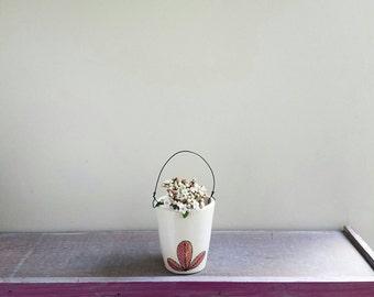 Wall vase with wire, small orange and pink vase, hand drawn flower vase with leaf design, ceramic spring flower garden vase