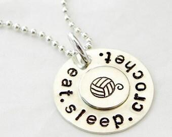 Eat. Sleep. Crochet. sterling silver necklace