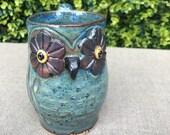 Blue owl coffee mug