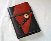 2017 Dark Brown and Rusty Orange Leather Planner with Leather Tie- Refillable