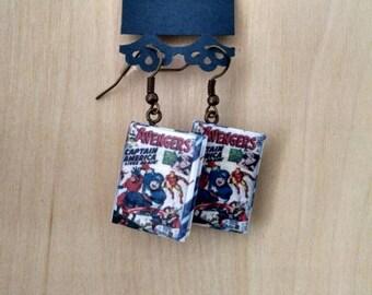 Mini Avengers Comic Book Earrings - Comic Book Jewelry - Avengers Comic Book Earrings - Avengers Comic Book Jewelry - Comic Book Earrings