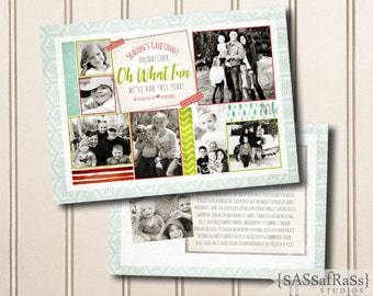 Oh What Fun Year In Review--Christmas Card Template for Adobe Photoshop, Photographer Template, Instant Download, DIY, Commercial Use
