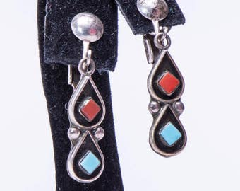 Navajo Turquoise & Coral Earrings - 70s Signed Clips