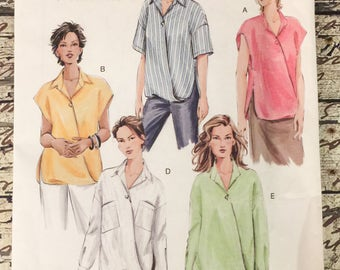 Vogue Basic Design V7853 Tops Tunic with Sleeves Sewing Pattern Misses Size 8 - 10 - 12 UNCUT