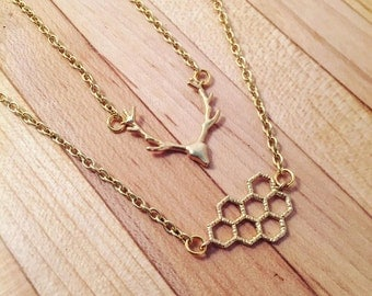 Dainty Honeycomb or Buck (Deer Antler) Necklace- Gold plated or silver plated