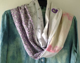 SCARF: Women's hand dyed cotton dragonfly Indian block print multicolor multifabric fiber art, white pink gray beige purple, boho Lhasa i376