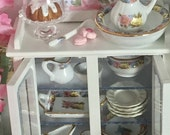 Miniature Dollhouse China, Dishes and Glass China Cabinet-1:12 scale