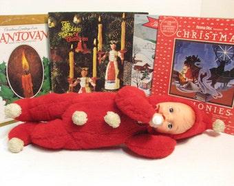 Vintage Christmas SnowBaby Doll Plush & Vinyl Gund Rushton Era Xmas Doll Snow Baby