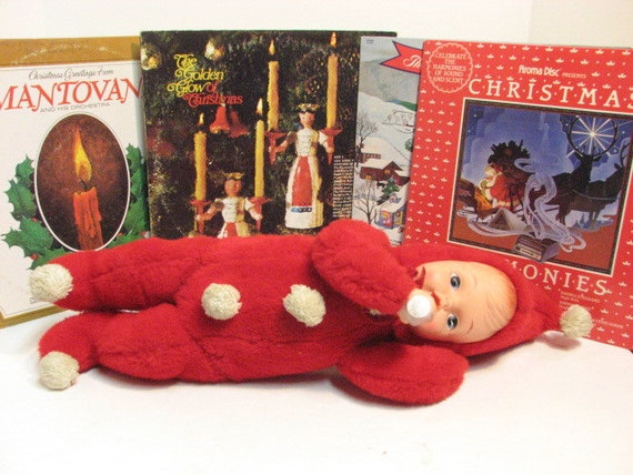 Vintage Christmas SnowBaby Doll, Plush & Vinyl Gund Rushton Era Xmas Doll Snow Baby