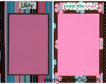 Baby Girl, Pre-Made Scrapbook Album Pages, Set of 2, Infant, New Born, New Mother Mom, 8x8 works on 12x12 Layout
