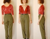 """sale 25% rainy days sale Modern Army Pants Vintage 80s Olive Drab High Waist Tapered Preppy Trousers Pants (26"""" Waist)"""