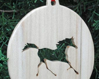 Wooden Horse Christmas Tree Ornament, Christmas Tree Decoration, Holiday Decoration, Canine Ornament, Family Pet Dog Ornament