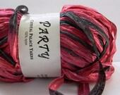 crystal palace party ribbon yarn . black cherry 8122 . 87yds . shimmering burgundy maroon red ribbon . discount destash bulky ribbon yarn