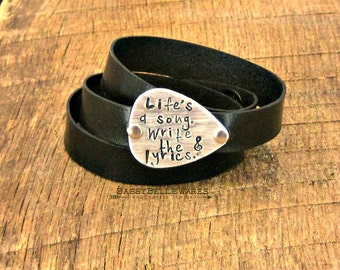 Lifes a Song Write the Lyrics Guitar Pick Leather Wrap Bracelet rocker girl festival ready style concert fashion black brown grey silver