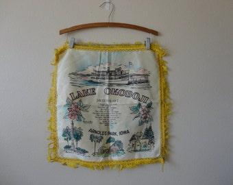 VINTAGE mid century lake okoboji - arnold's park iowa souvenir PILLOW COVER